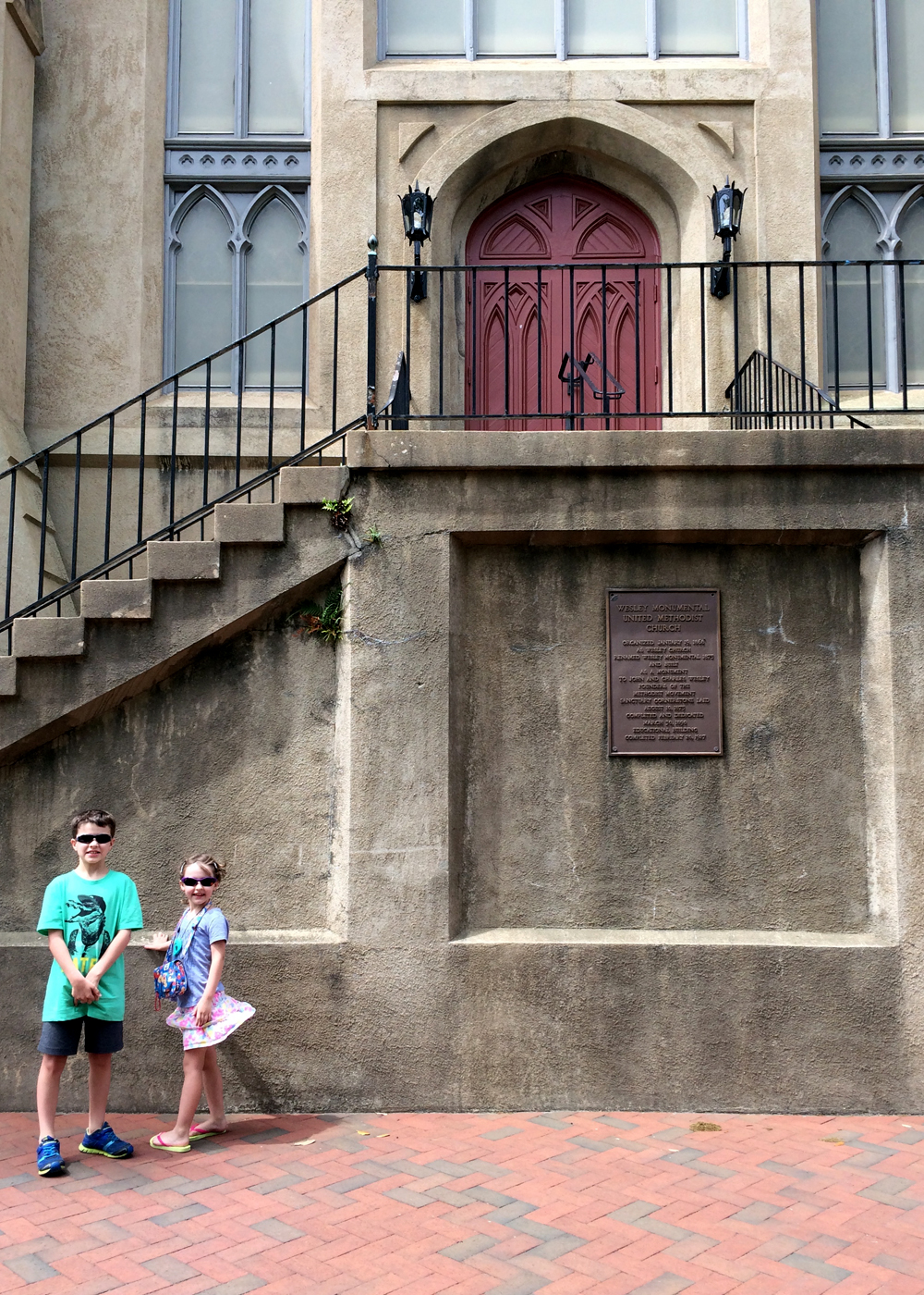 Showing our 7 and 9 year old the church where my husband and I married in almost 12 years ago in Savannah, GA
