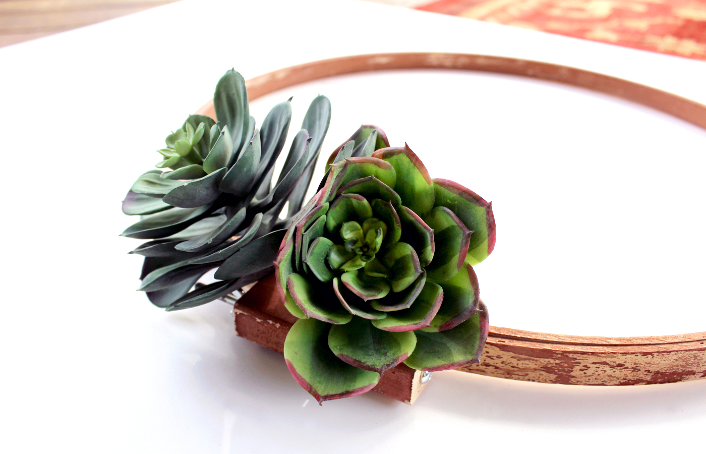 how to make a cheerful spring wreath using faux succulents