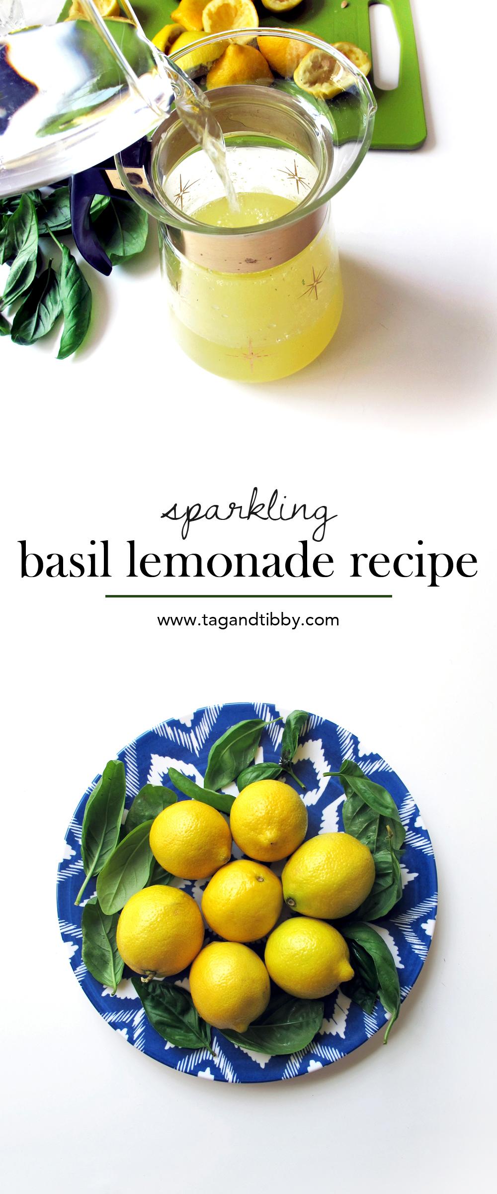 fresh sparkling basil lemonade recipe | tag&tibby