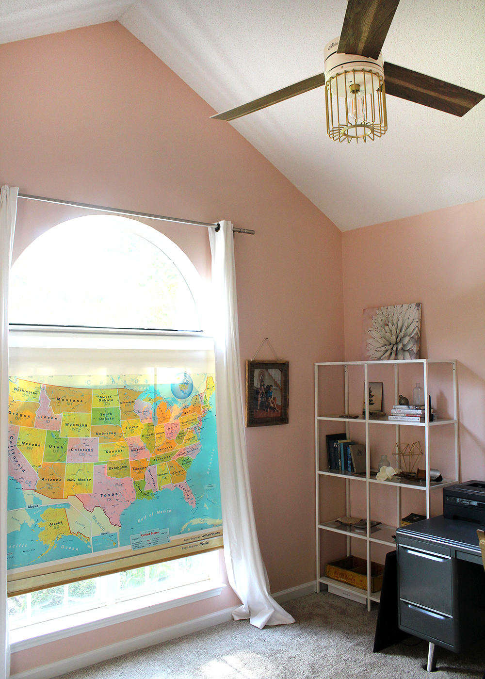 DIY Thrifted Map Upcyled to a Window Shade   tag&tibby