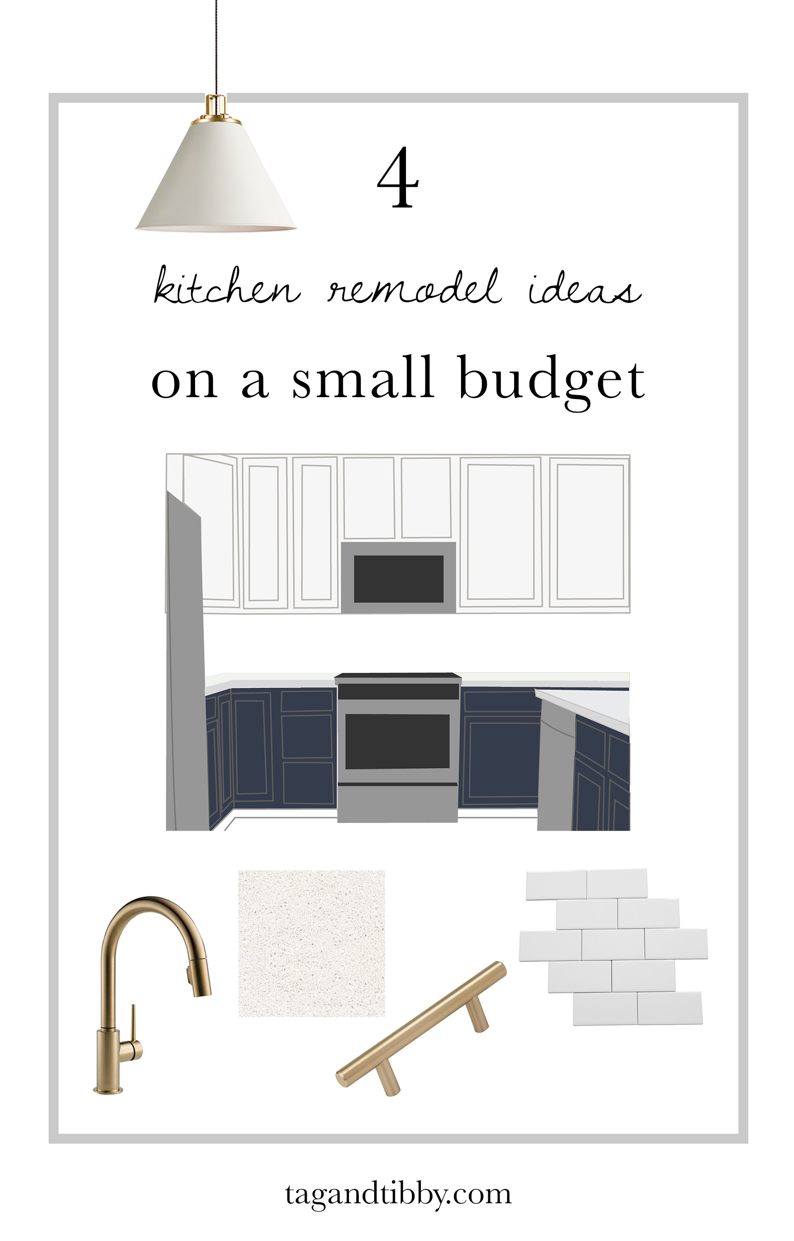 Small budget kitchen ideas at $500, $1500, $2500, $6000. Something for every budget! | Tag & Tibby