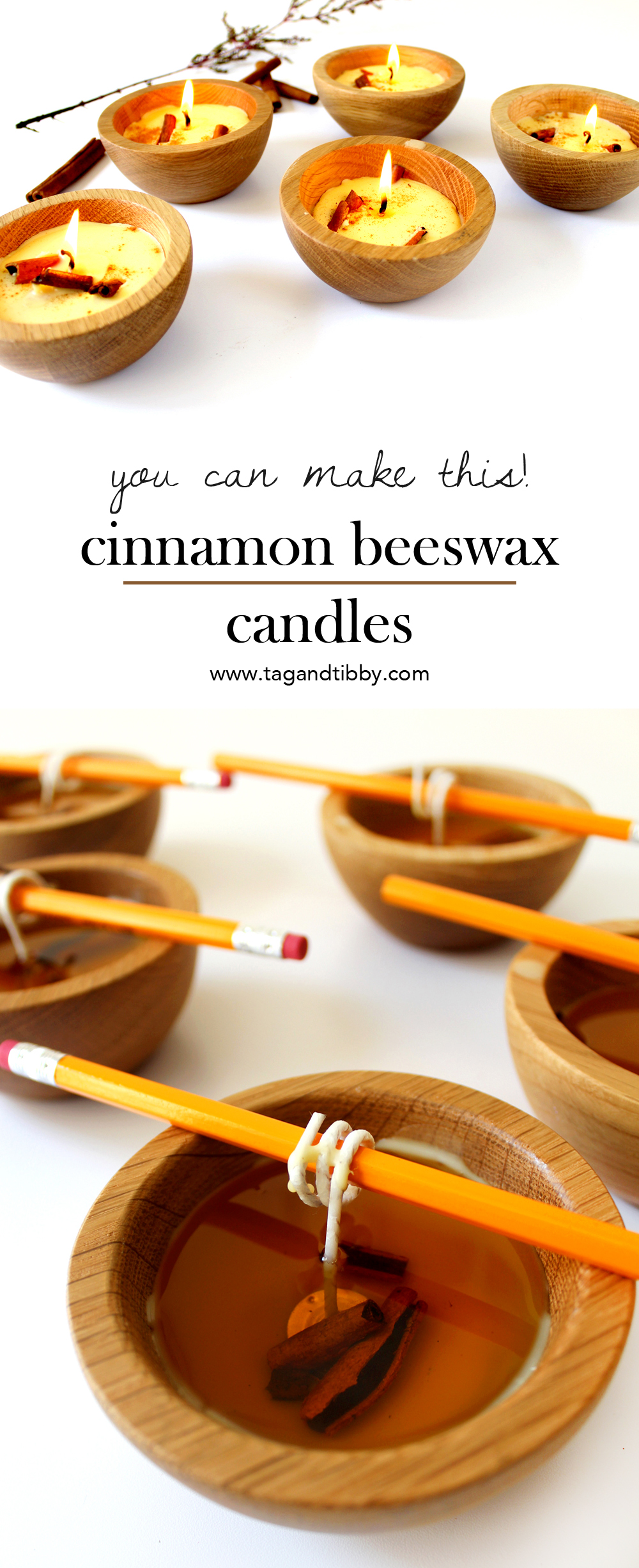 DIY tutorial for beeswax candles with cinnamon and clove