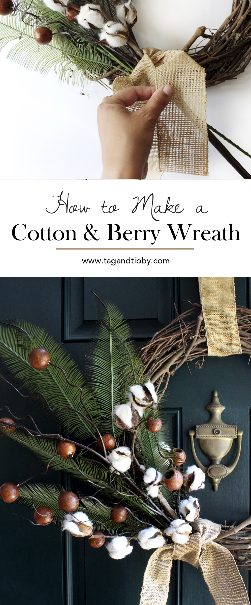 how to make a cotton and berry wreath for Fall, subtle with no pumpkins