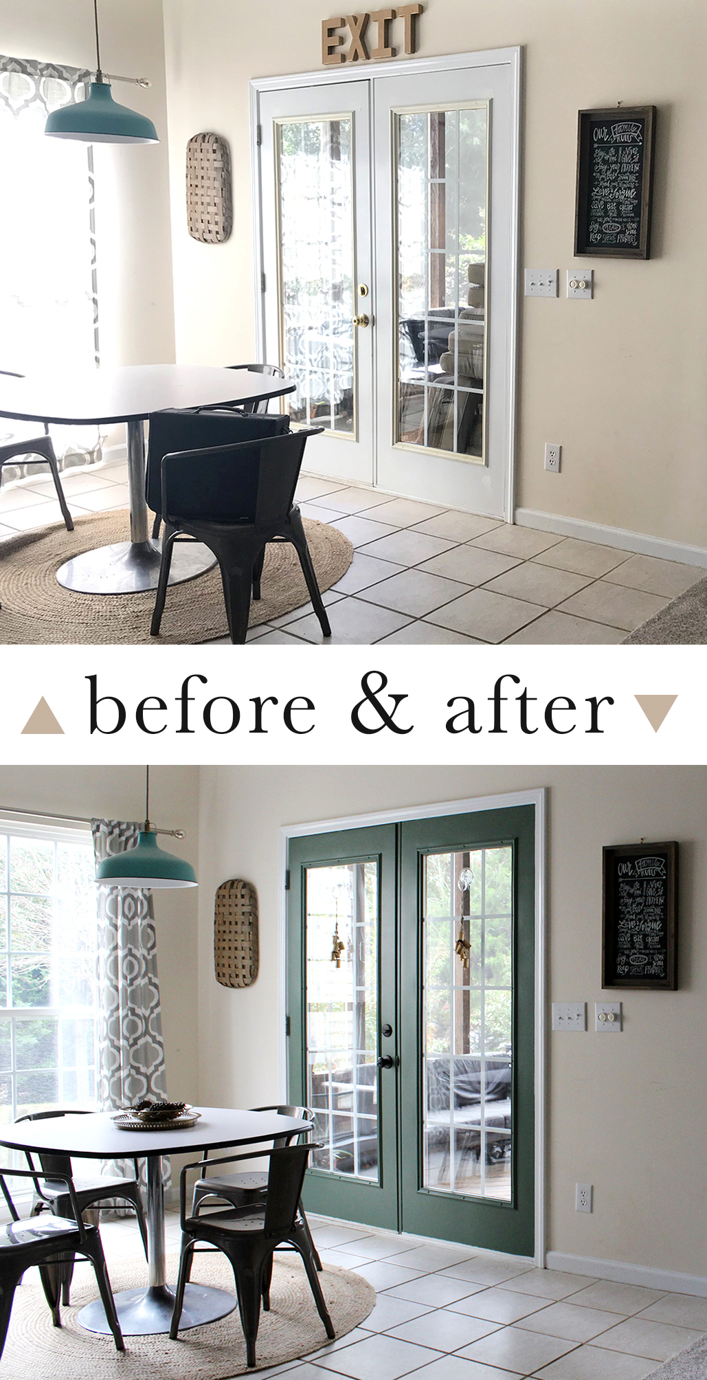 update your french door with paint for $80! love this green color