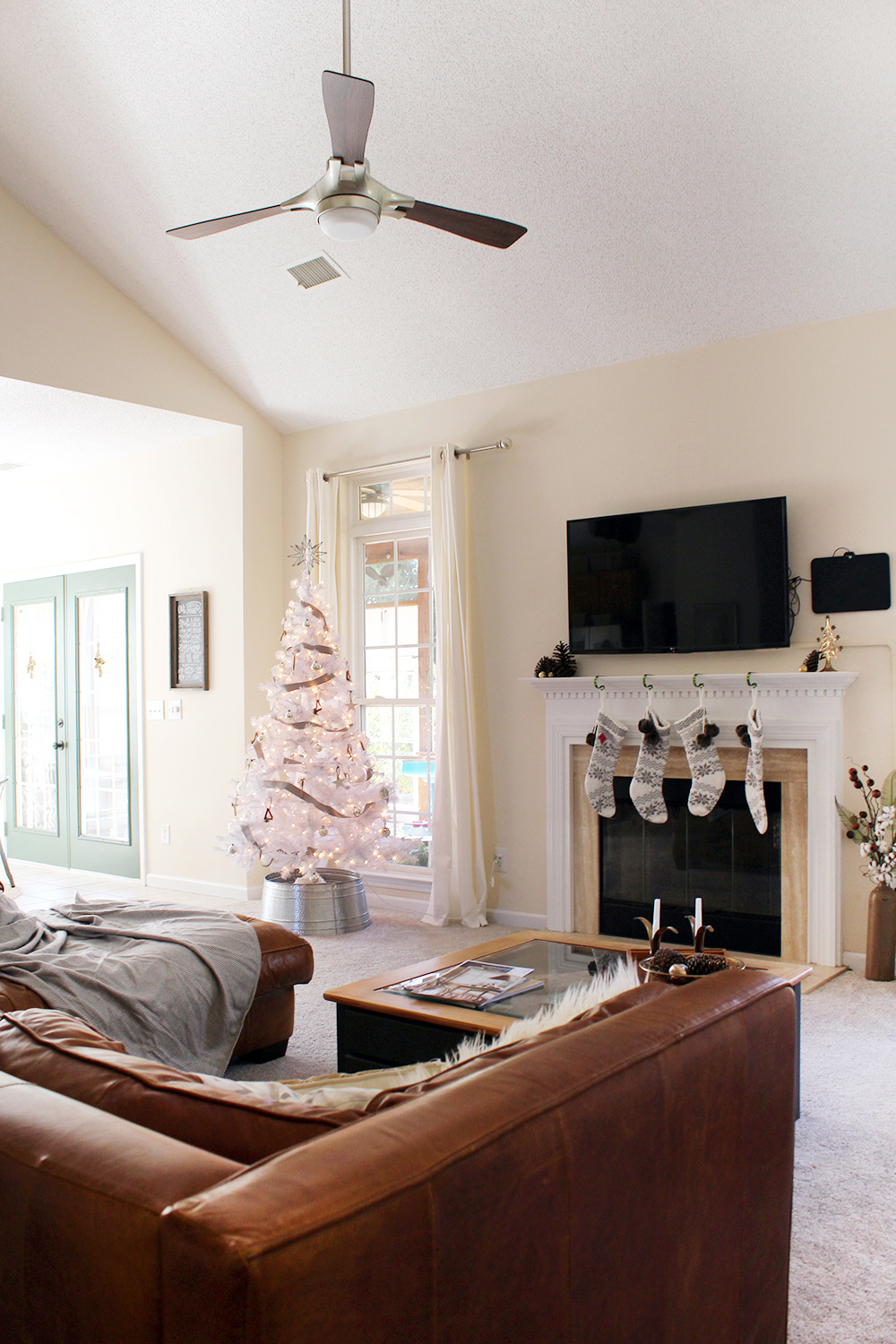 a modern holiday home tour with white Christmas tree