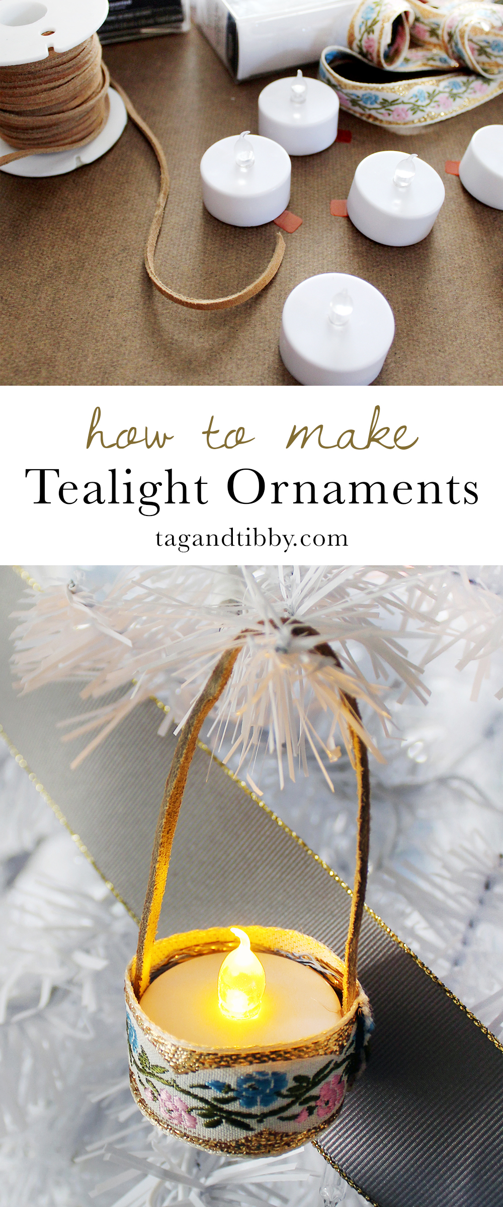 how to make your mini tealight ornaments with vintage ribbon, budget friendly and easy! #ChristmasDIY #Craft #HandmadChristmas #Ornament