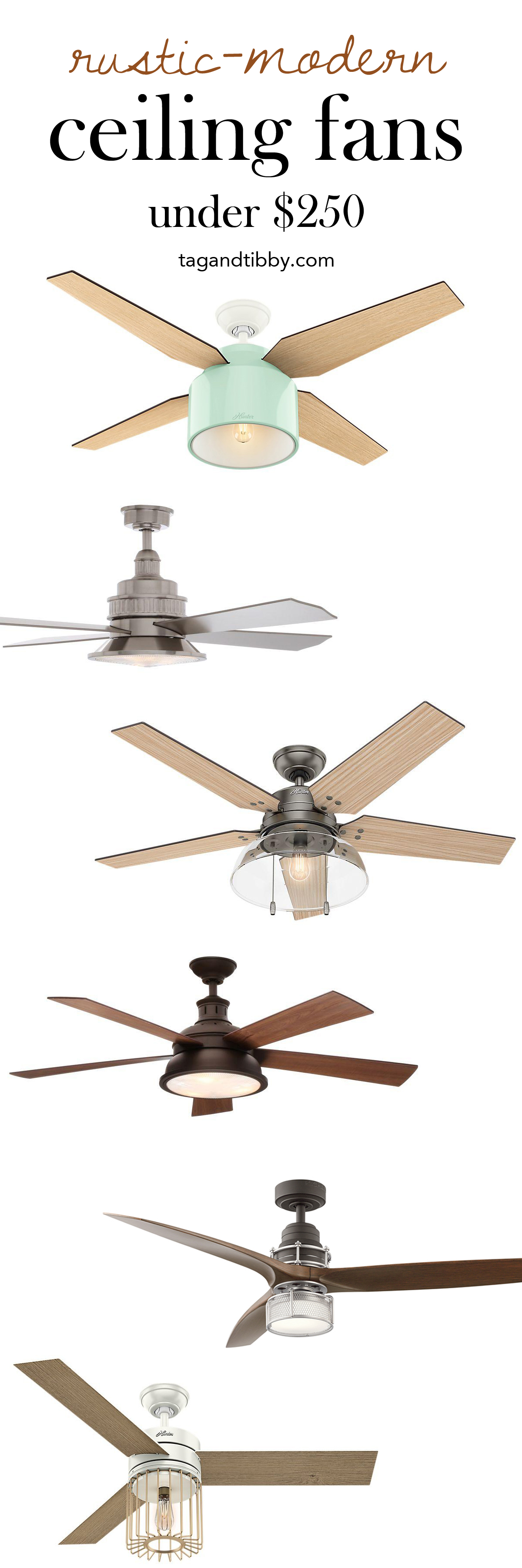 Fave Rustic-Modern Ceiling Fans for under $250