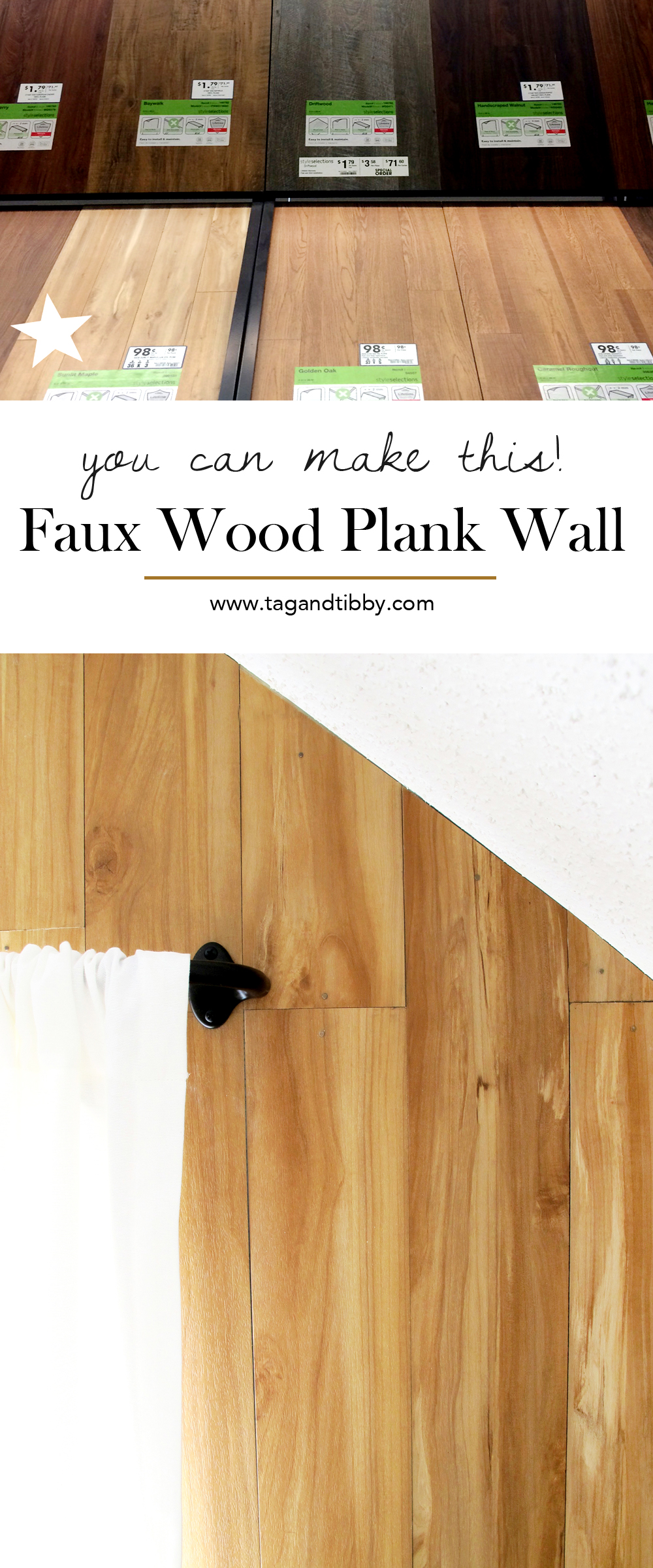 DIY Wood Plank Wall made with faux wood flooring #DIY #HomeImprovement