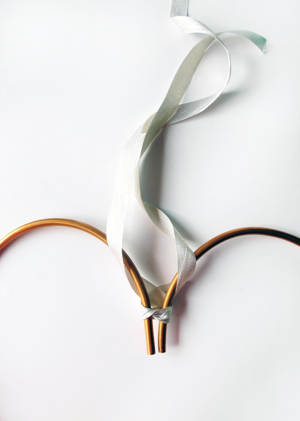 copper heart wreath DIY