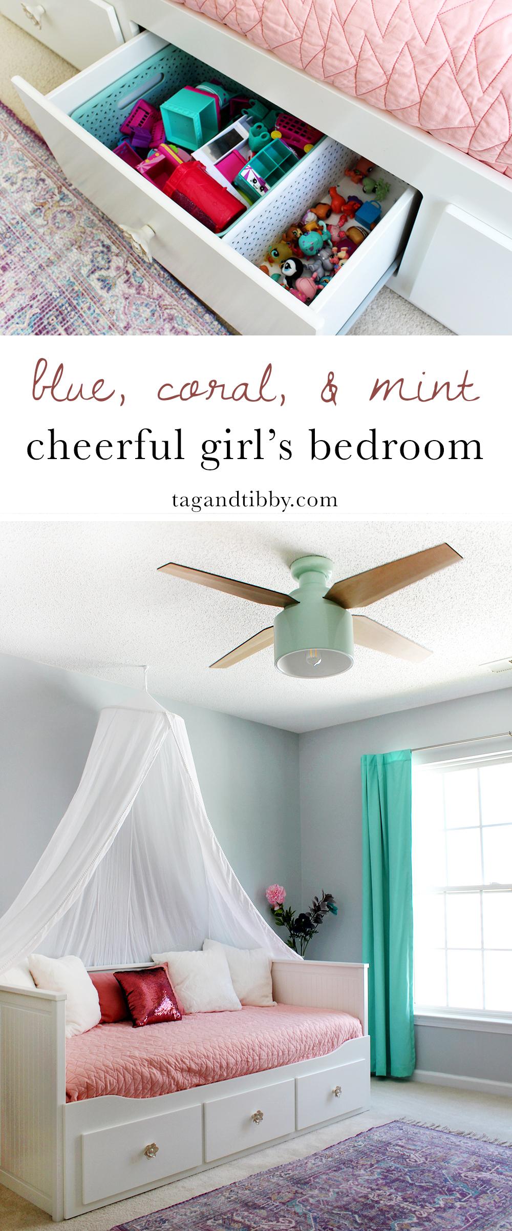 cheerful girl's bedroom in SW Misty blue paint & Cranbrook ceiling fan