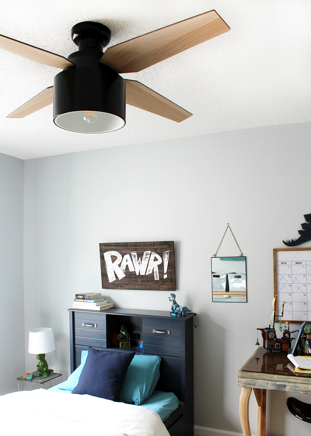 Sherwin-Williams Misty with Hunter Cranbrook   boys bedroom makeover