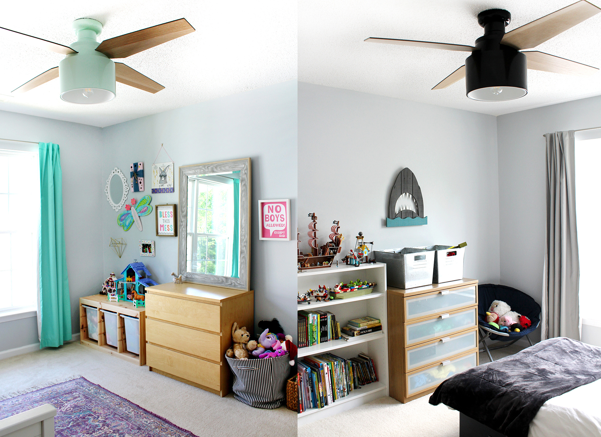 Sherwin-Williams Misty in a girl and boy room