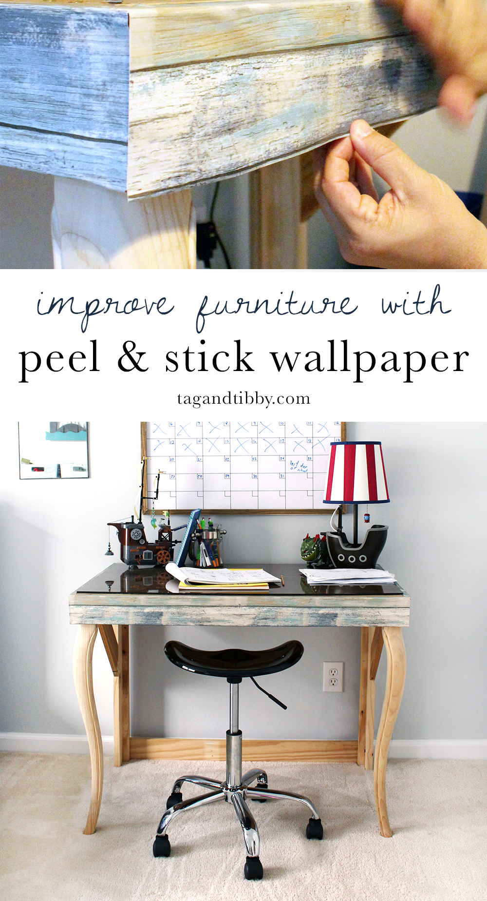 Cover furniture with peel & stick wallpaper for a custom look on a small budget!