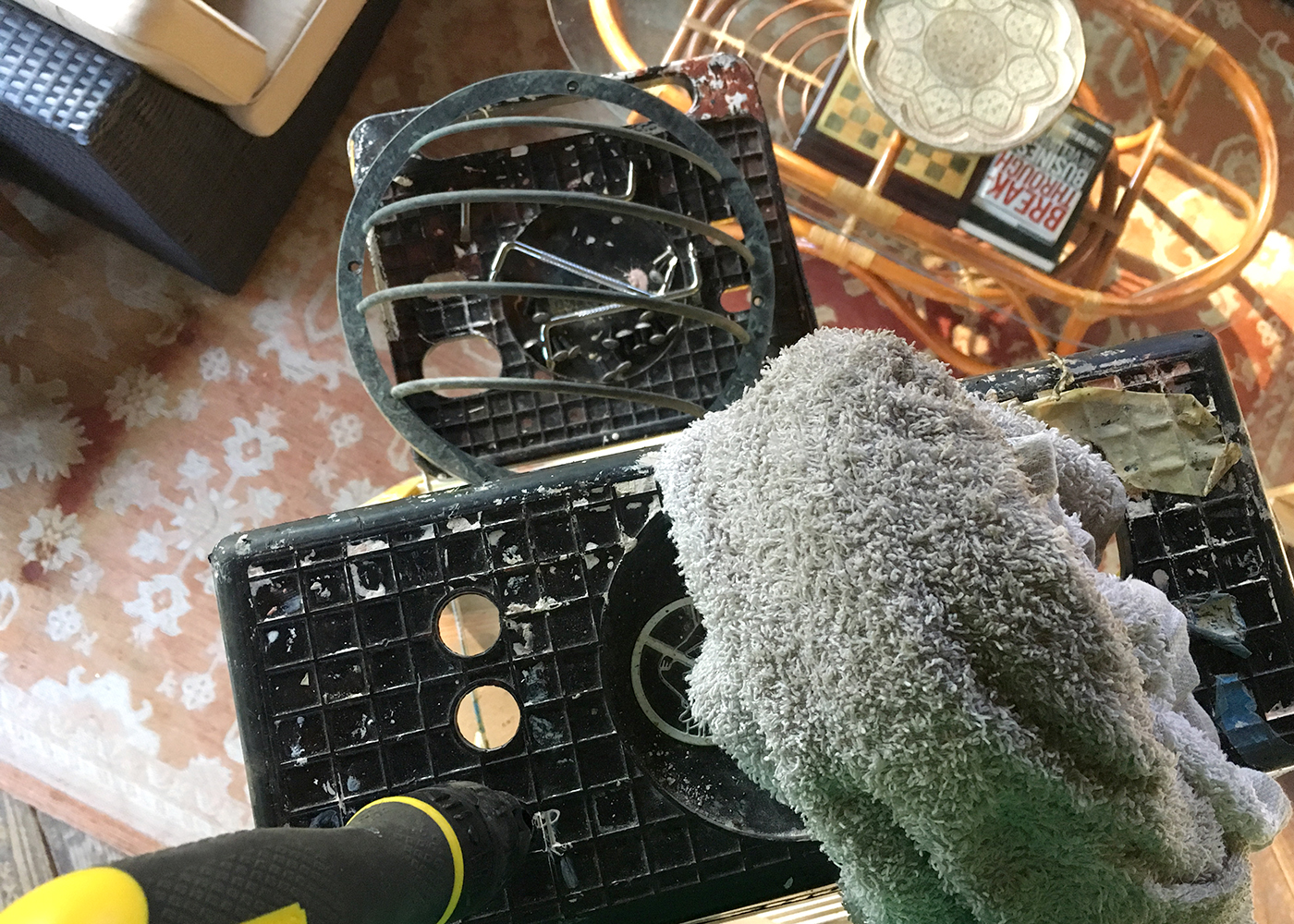 clean up the fan with a damp cloth