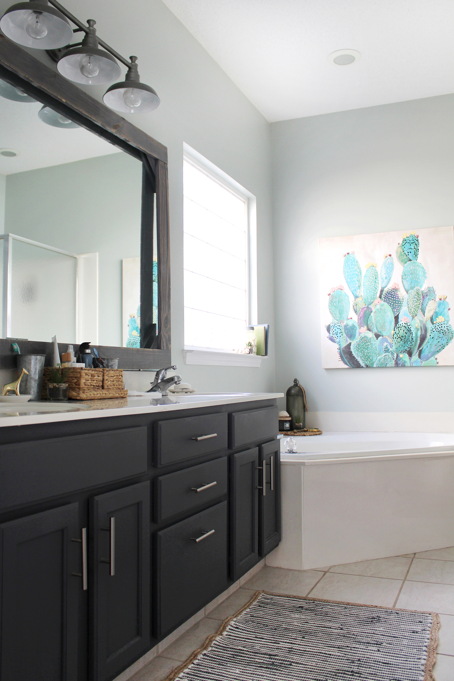 A Master Bathroom Refresh with nautical accessories #masterbathroom #budgetdecor #Ad #TuesdayMorningFinds