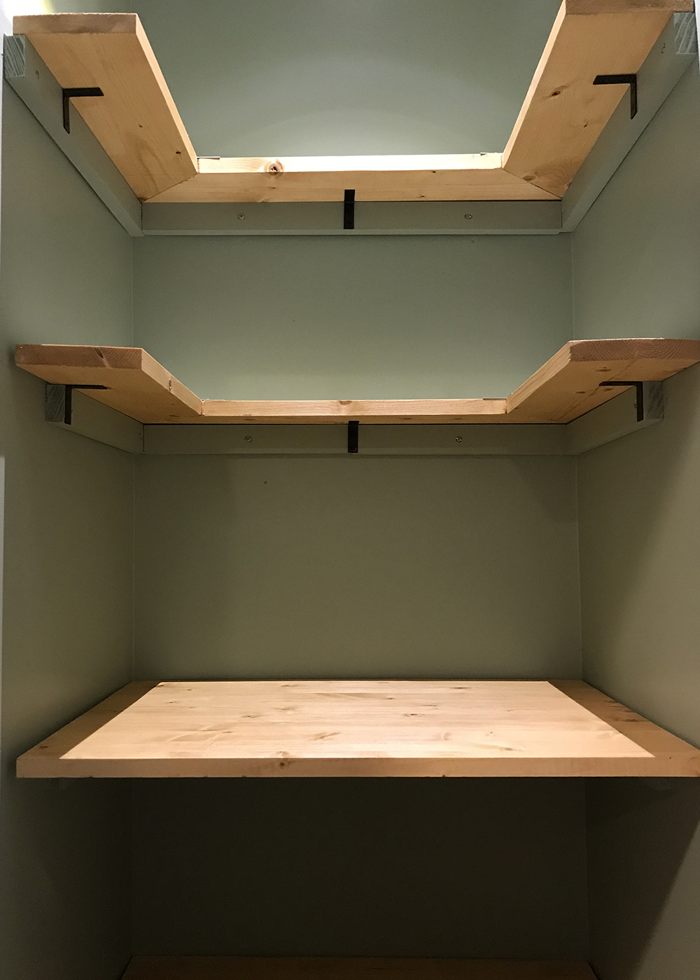 installed new motion sensing light then shelving