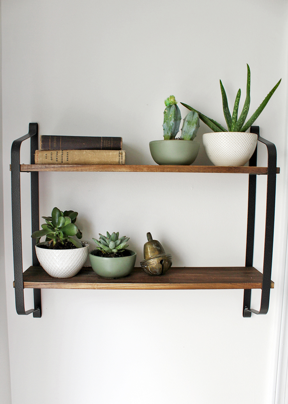 rustic wood with metal shelving decorated with live plants and vintage books