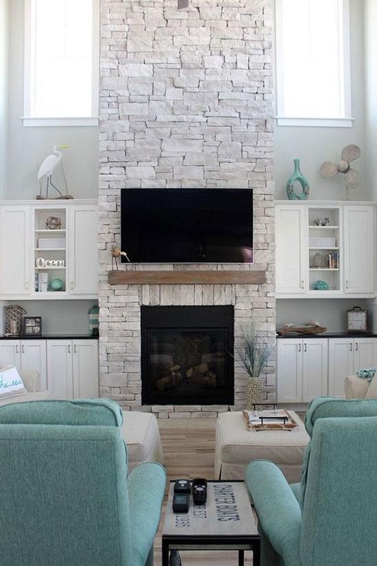 Stone Coastal Fireplace. Inspiration Source: Simple Stylings