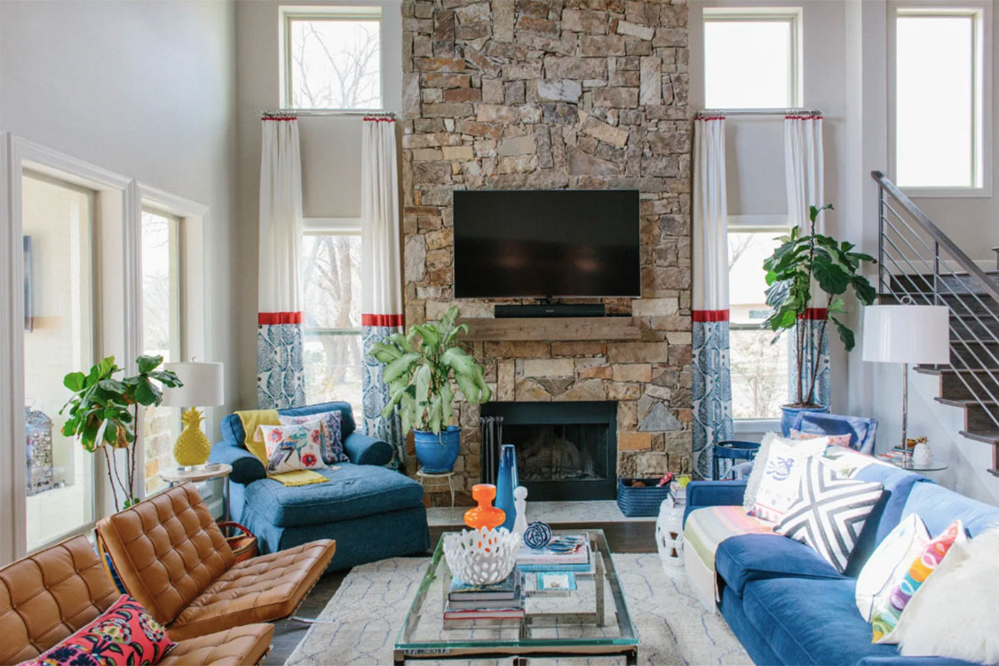 Eclectic Stone Fireplace. Inspiration Source: Apartment Therapy