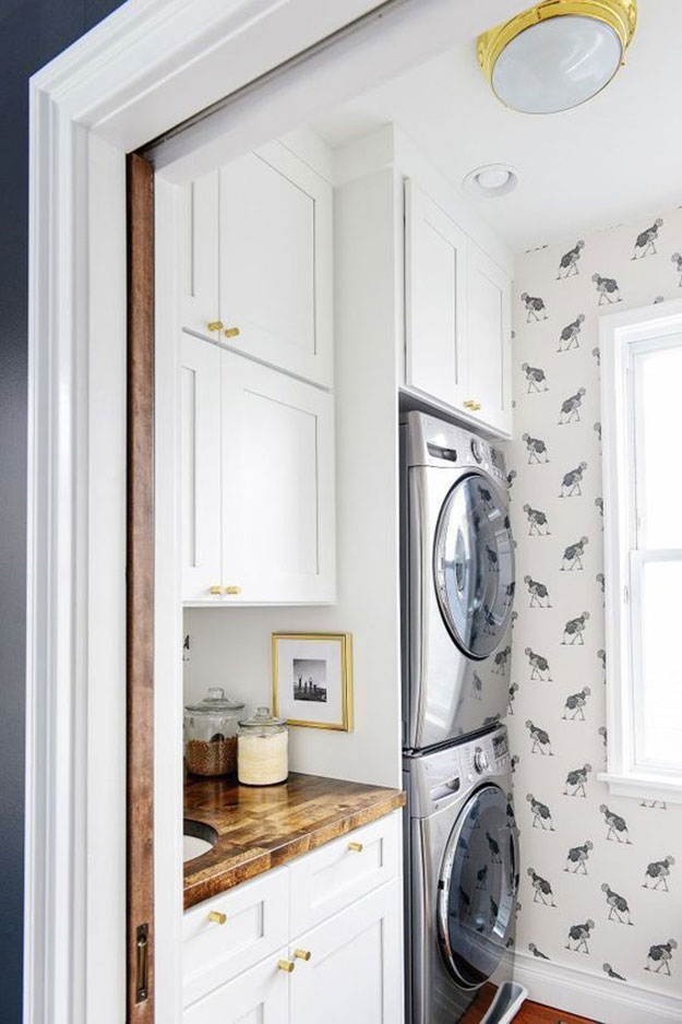 Stacked Washer & Dryer. Inspiration Source: Yellow Brick Home
