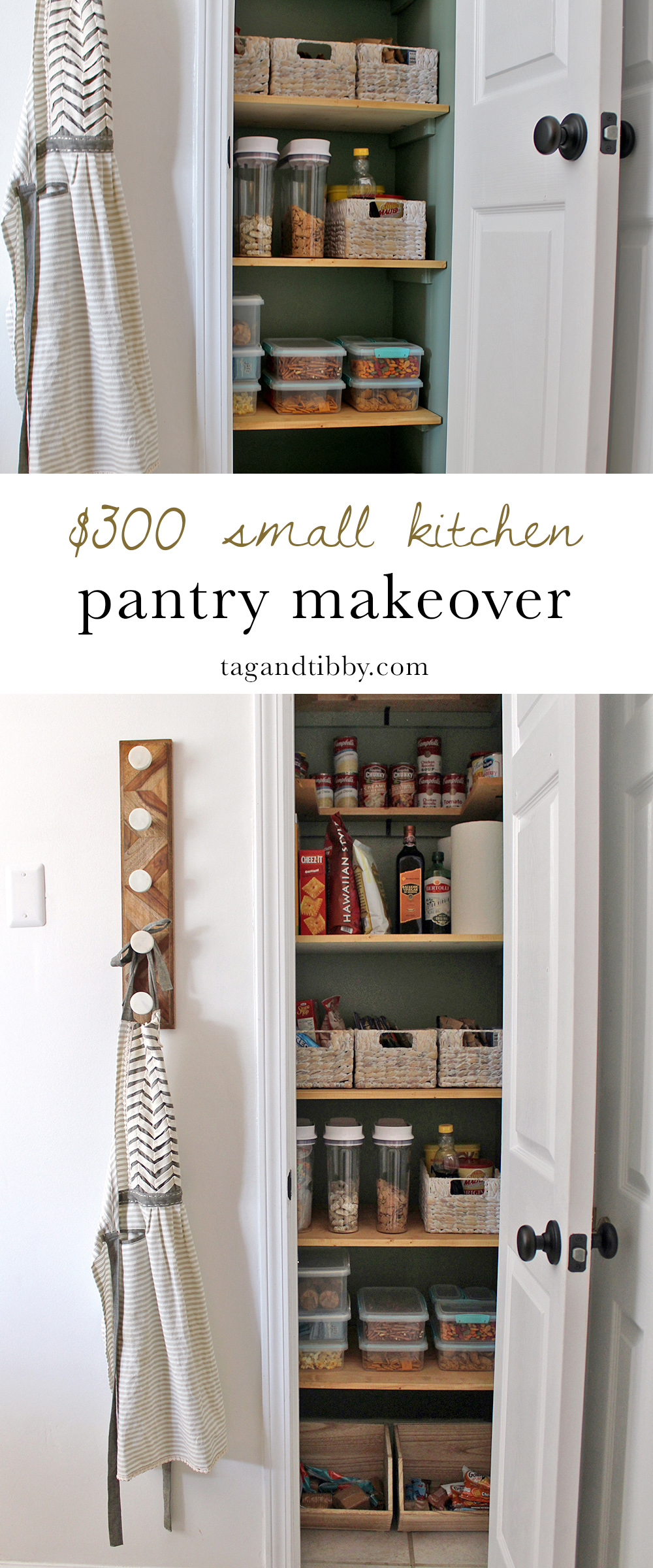 A Small Kitchen Pantry Makeover for $300 with supply list and tips