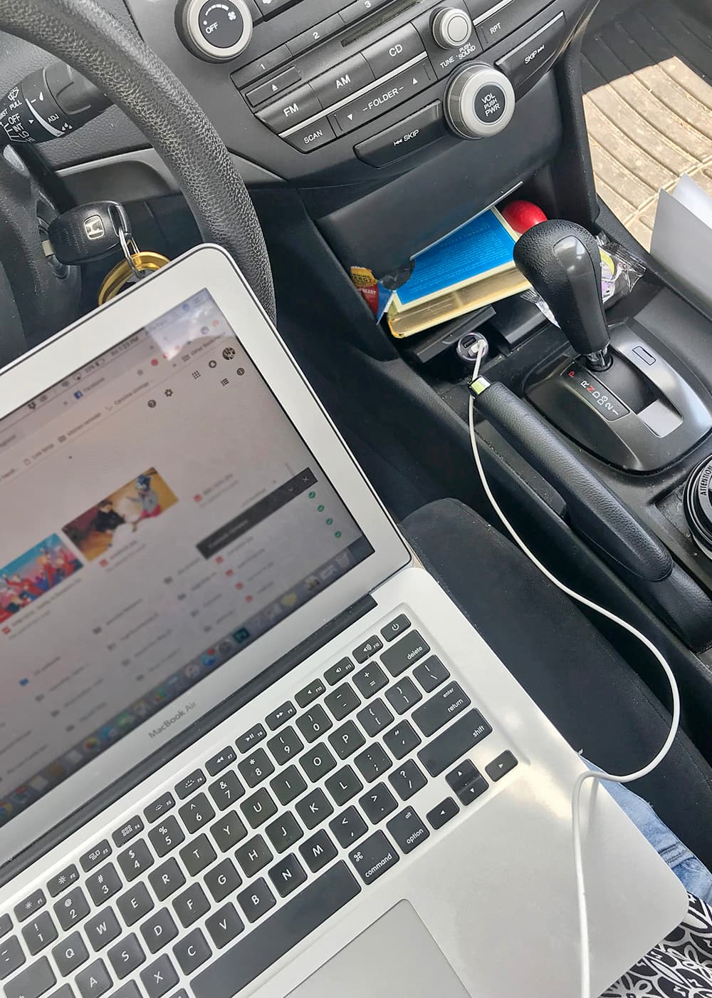 Parked in the afternoon carline with my laptop & hotspot waiting to pick up my kids