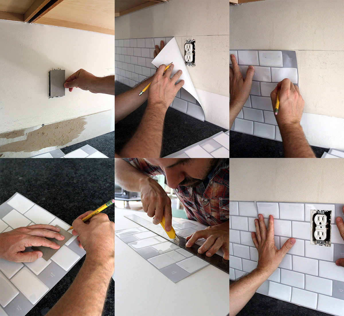 how to cut a peel & stick backsplash for an outlet