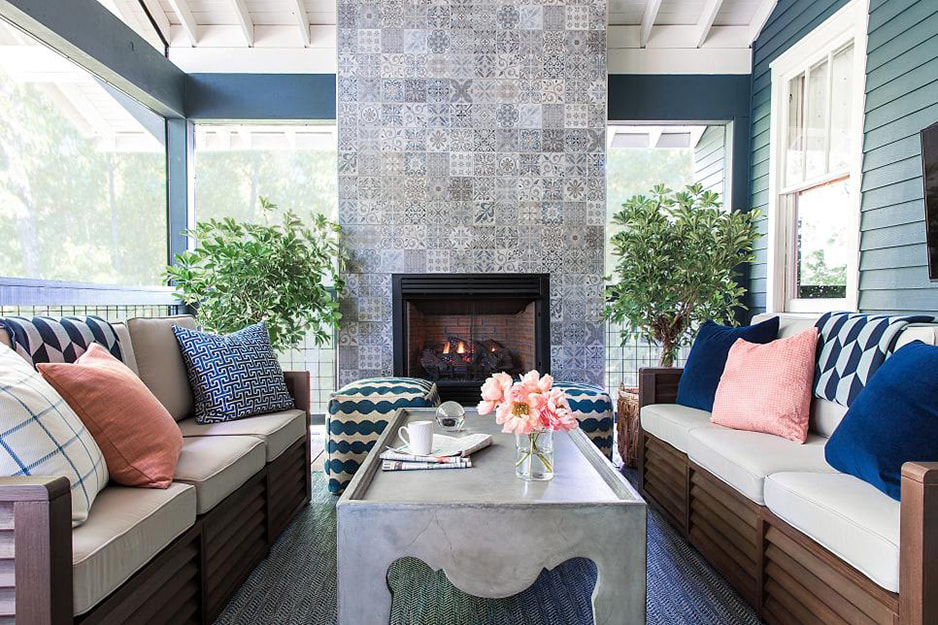 Screened Porch with Fireplace. Image Source: HGTV, Thomas Espinoza