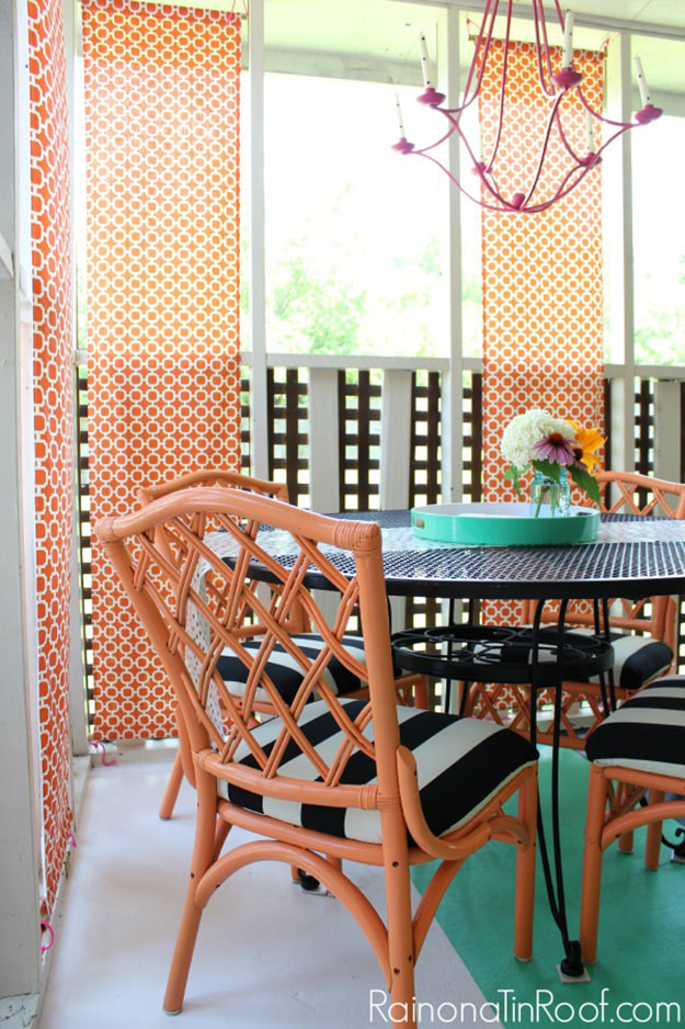 Colorful Screened-In Porch. Image Source: Rain on a Tin Roof
