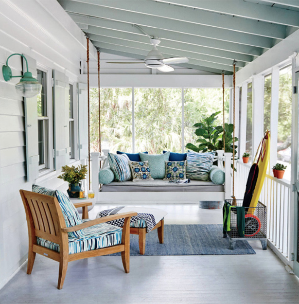 Calm Coastal Screened Porch. Image Source: Coastal Living, Peter Frank Edwards