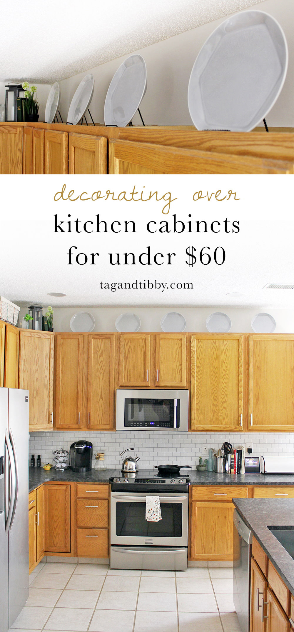 Merveilleux Decorating Over Kitchen Cabinets With Plates For Under $60 #kitchendecor  #budgetdecor