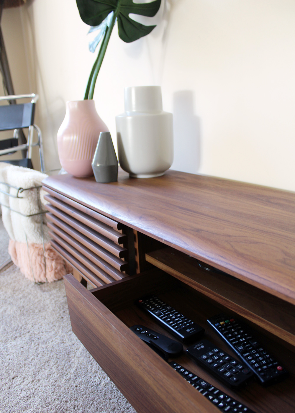 Hide Wires & Cords with a Mid Century Style Console Table