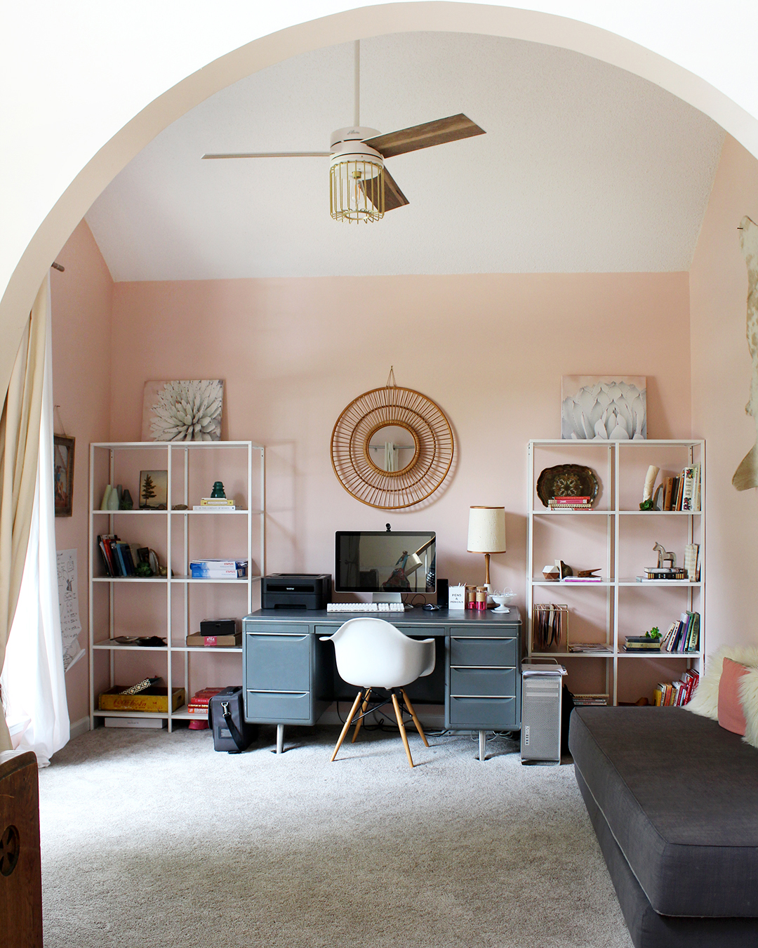 5 of the best pink paint colors from Sherwin Williams (office painted SW Romance)