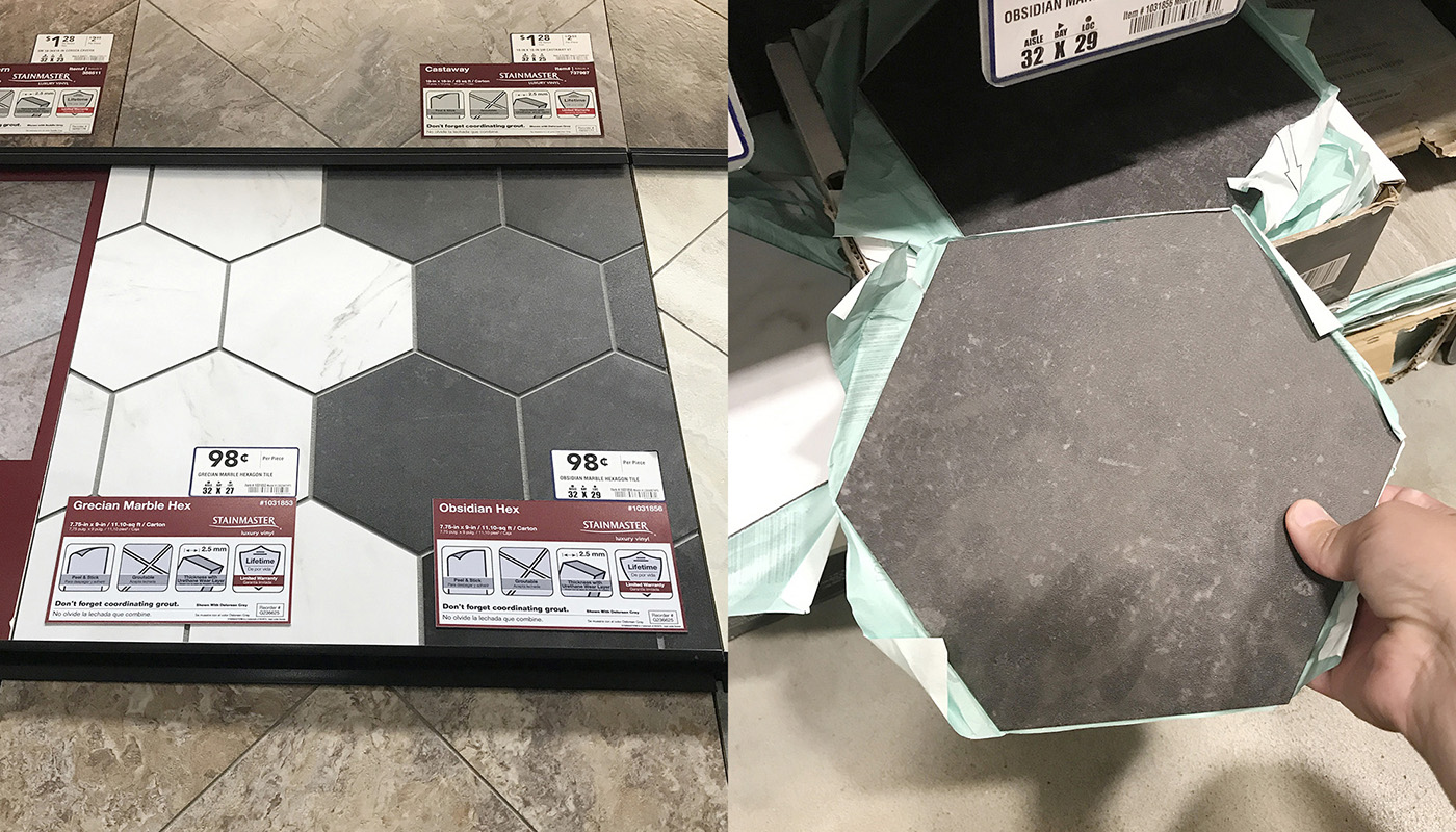 hexagon flooring option for the laundry room