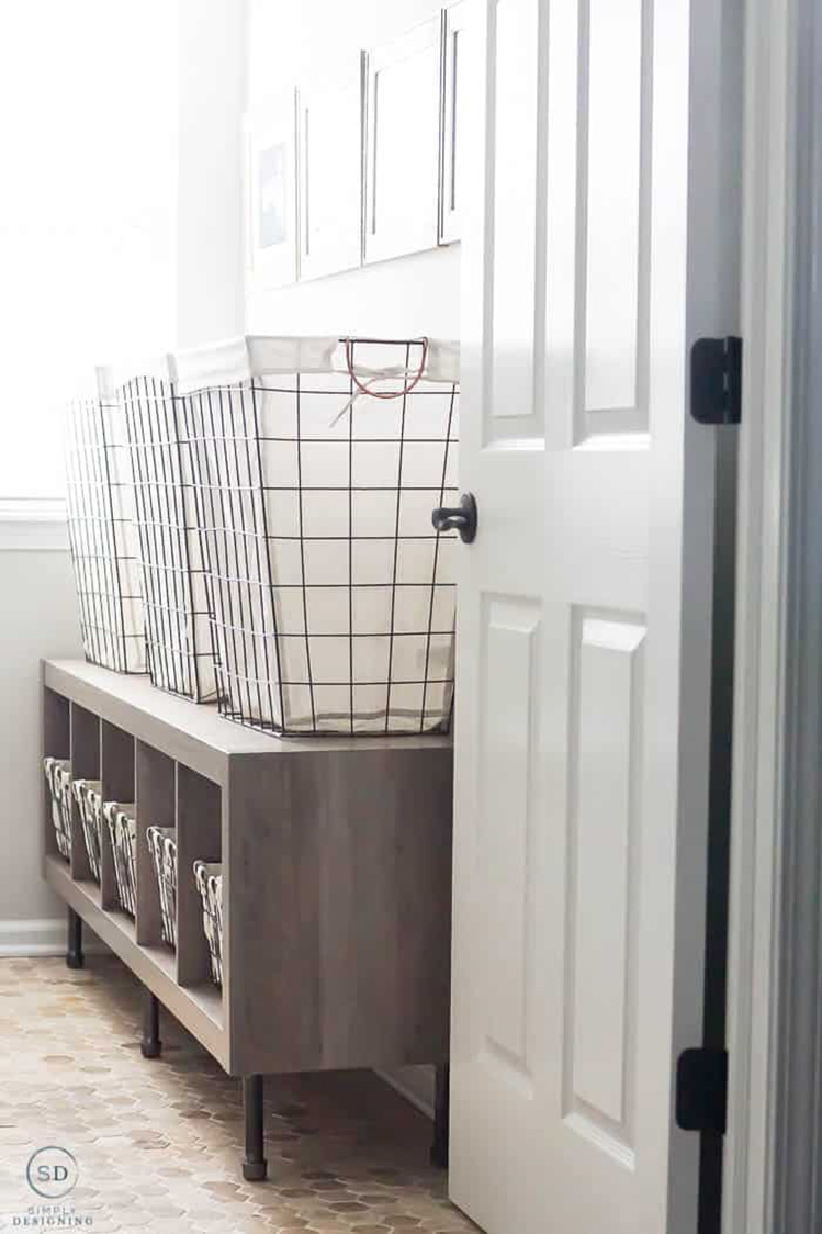 Raised Storage for Baskets | Simply Designing