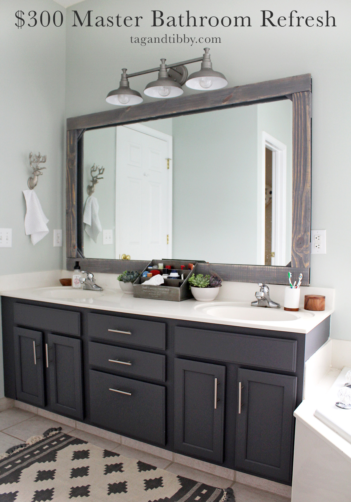 learn how to update your master bathroom on a $300 budget with practical tips #masterbathroom #budgetremodel #DIYproject #seasalt
