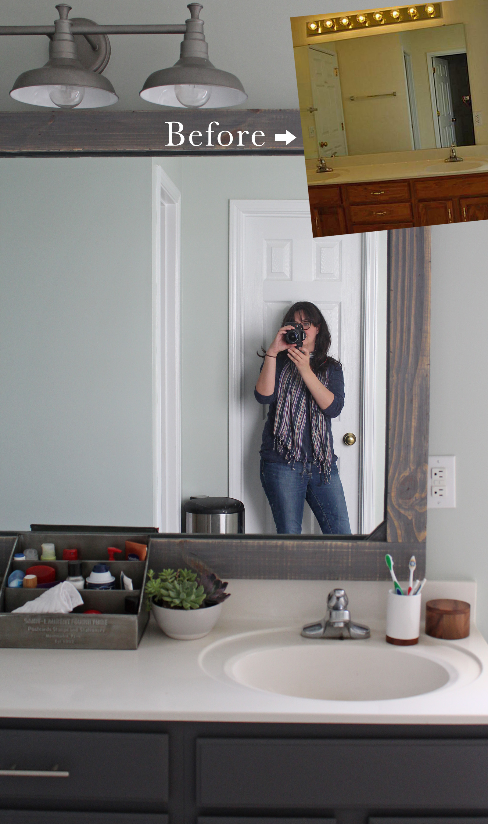 learn how to add a rustic mirror frame to your existing bathroom mirror. small budget friendly! #bathroom #mirrorframe #rustic