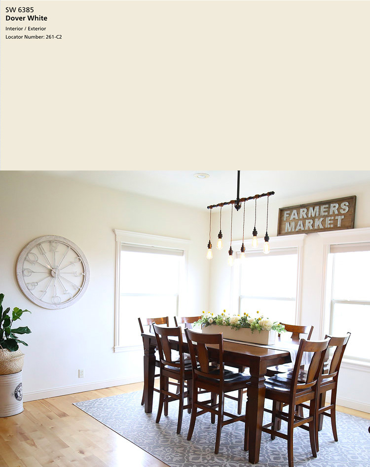 Sherwin-Williams Dover White SW 6385   10 best Sherwin-Williams White Paint Colors