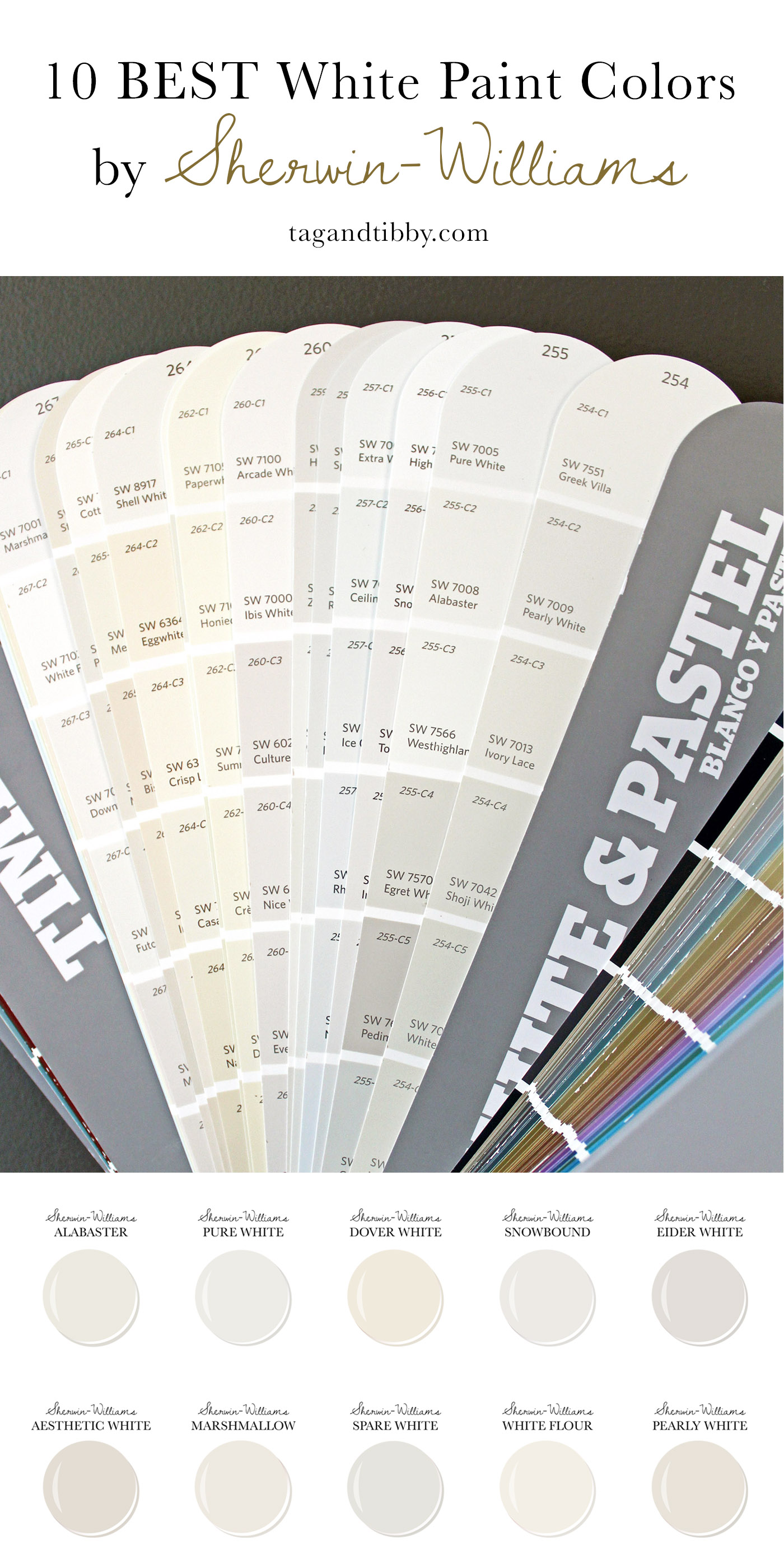 10 Best White Paint Colors by Sherwin-Williams #alabaster #purewhite #doverwhite #whitepaint #paintcolors
