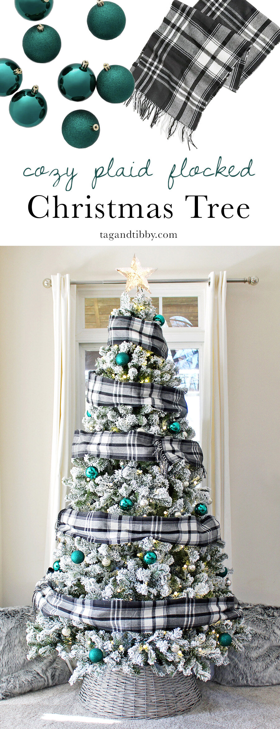 Flocked Christmas Tree Decorated With Scarves Tag Tibby Design