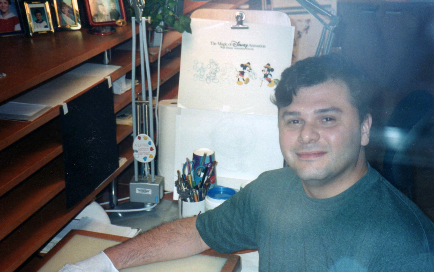 A view of the Ink and Paint studio desks from the audience side of the animation tour back in early 1997. Getting used to wearing gloves to paint cels was quite necessary to keep the cels from fingerprints, scratches and dings.