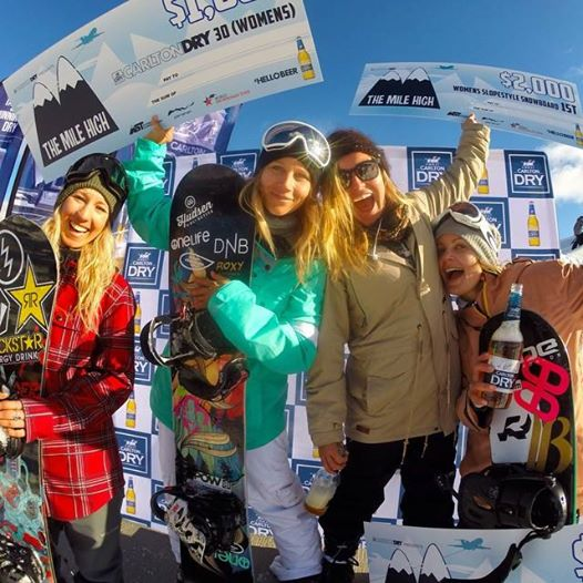 Podium with the winners of the slopestyle contest. From the left -->> Christy Prior, me, Jamie Anderson, Silvia Mittermuller
