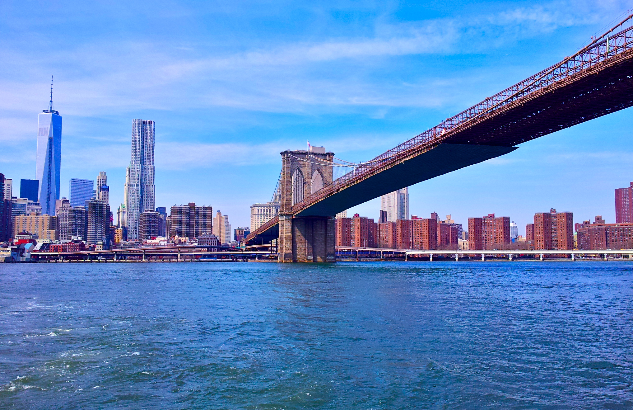 The most famous bridge in the world - The Brooklyn Bridge.