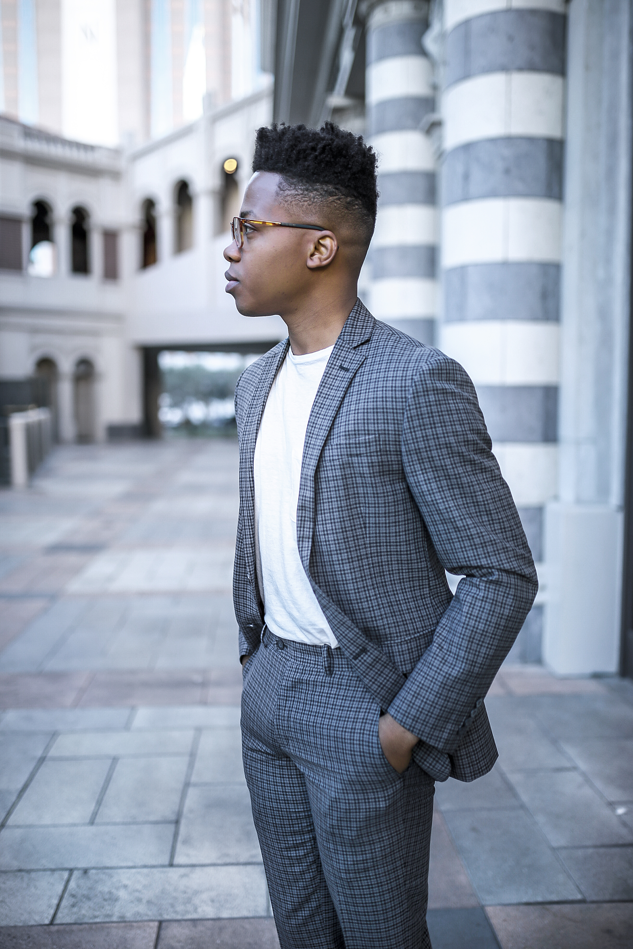 Informal - This look is for when you want to throw a suit on without feeling like you're wearing one. The key is to pair it with a plain, slim-fitted shirt. White is usually my go-to option. But also you want to make sure the suit fits properly, like this one from Bar 3, to create a slim and sharp look. A perfect look for casual outings, daily non-formal activities, and weekends.  Shop this look below:   SUIT JACKET  &  PANTS  by BAR III