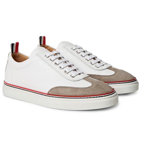 Suede-Trimmed Full-Grain Leather Sneakers.jpg