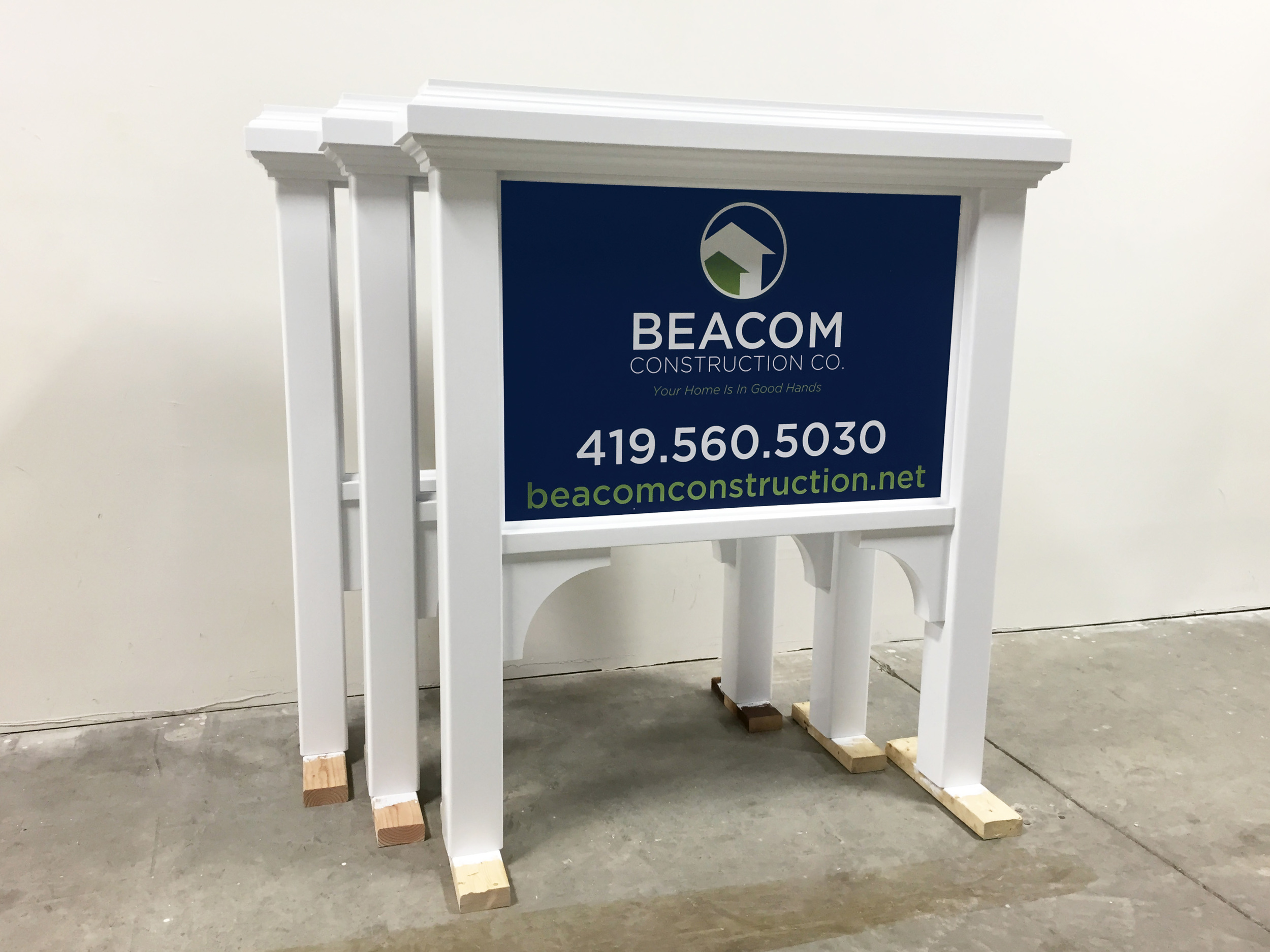 Set ofjob site signs built from PVC board