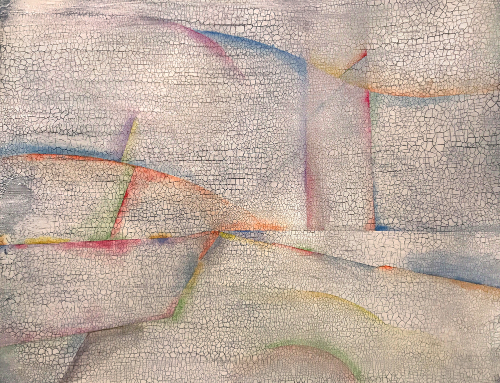 All Rays Employed Here Converge     24 x 18 inches, watercolor, oil,acrylic and plaster on paper