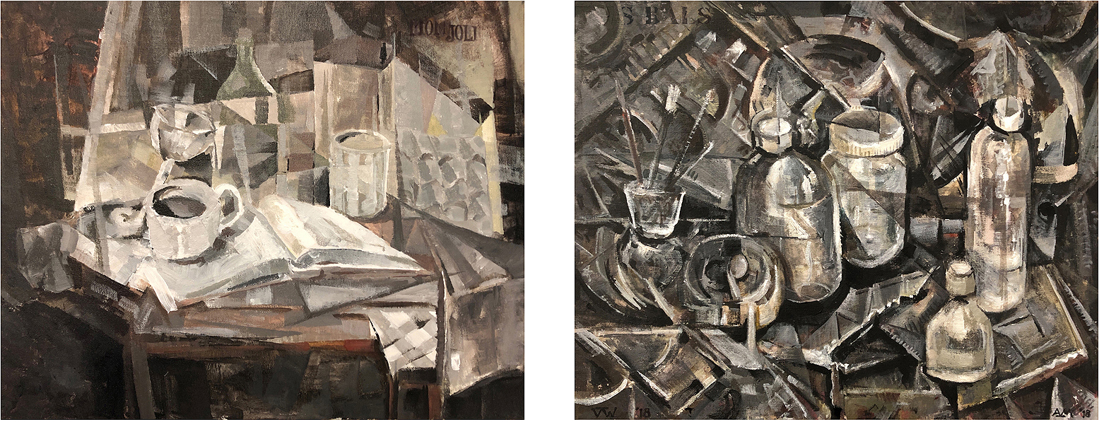 """Mon Joli   and   Des Grands bals  , from the Reassignments series, 2019; acrylic on canvas and canvas board, each 16 x 20 inches, framed separately but forming a single diptych    Lately I've been addressing current political and social issues by re-purposing a broad range of abstract and non-representational iconography and formal idioms. Most of my paintings explore narrative themes ambiguously; many of my current ones do not. The Reassignments series deals with an ongoing crisis in the field of art history, one prompted by increasing awareness of the gender gap in the canon of artists and the gulf between historical reality and fictions supported by my discipline throughout the past century or longer. With the diptych above, I've begun a series of paired paintings reflecting (mainly through effects of style) tropes of gender – one painting """"female,"""" the other """"male.""""  In each of the three paintings I exhibited at the 2019 SUU faculty show (of which a detail from one may be seen below), an example of my work appears in three different styles, each suggested by and adapted from that of a historically important female abstractionist of the last 100 years – and in each, the painting is accompanied by another image (also inspired by that artist's style) which has been obliterated by a (now deteriorating) editorial barrier. Both the contrasting and the linking formal elements between the exposed image and the concealed one are intentional references to the #MeToo theme. The titles of the latest paintings are taken from the text of  A Funny Thing , by John Foxx."""