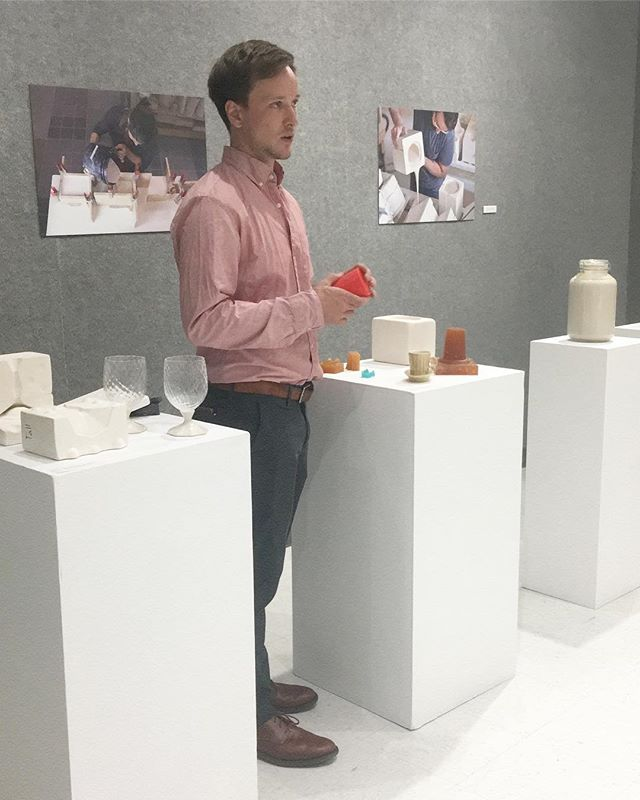 Here's me explaining what we do at @thebrightangle at our show, Art and Manufacturing, at Weizenblatt Gallery on Mars Hill University-  In high school I signed up for auto tech like all the other dudes but it was full so they stuck me in ceramics 😧😂. I started spending time on the wheel when I was 14. Then I met Warren Mackenzie, one of the pioneers of the American studio pottery movement based in Minnesota, and I immediately had a role model. After years of playing with clay to explore all the things that magical material can do I got intrigued by the qualities of glass🤭 - this led me to my first 3D printing project - should I keep going? 🤓😬🤔