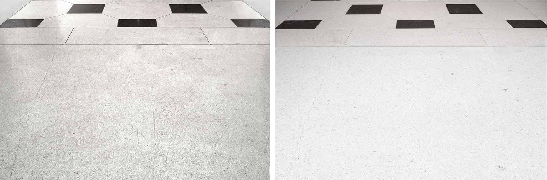 Leftto right: limestone floor before and after, cleaning andpolishing.